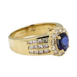 1 ctw Diamond And Blue Sapphire Ring - 14KT Yellow Gold