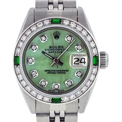 Rolex Ladies Stainless Steel Green MOP Diamond Datejust Wristwatch