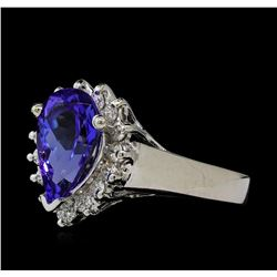 2.5 ctw Tanzanite and Diamond Ring - 14KT White Gold