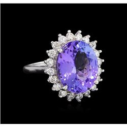 9.62 ctw Tanzanite and Diamond Ring - 14KT White Gold