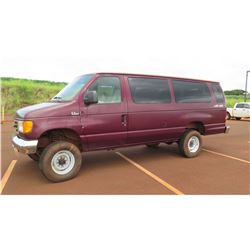 2004 Ford E350 XL Super Duty 4X4 Van, 50,872 Miles, Lic. 927 KBJ
