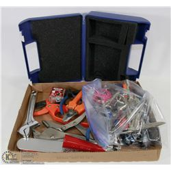 FLAT OF ASST TOOLS WITH BAG OF SCISSORS