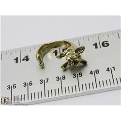 "NEW GOLD TONE ""PUG"" DOG ADJUSTABLE HEAVY RING"