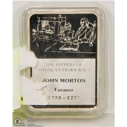 1OZ .999 FINE JOHN MORTON SILVER BAR MARKED .999
