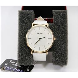 NEW KEZZIE LADIES WATCH GENUINE LEATHER WHITE