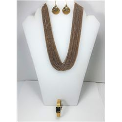 1)  GOLD TONE MULTI CHAIN NECKLACE