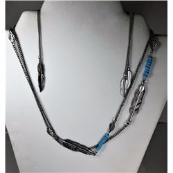 6)  SILVER TONE LONG CHAIN WITH LEAF &