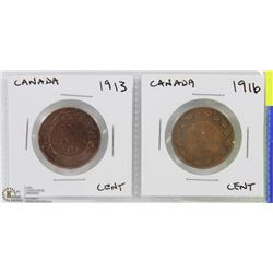 CANADA ONE CENT COINS  1913  1916.