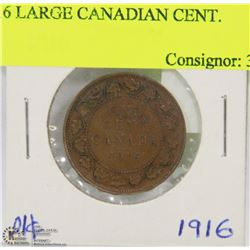 1916 LARGE CANADIAN CENT.