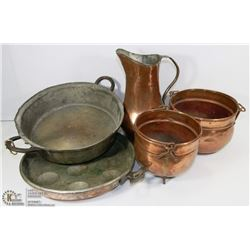 5PC OF VINTAGE COPPERWARE & ASSORTED.