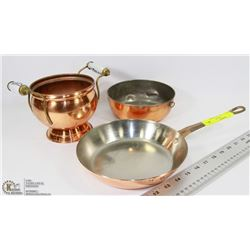 3PC VINTAGE COPPERWARE.