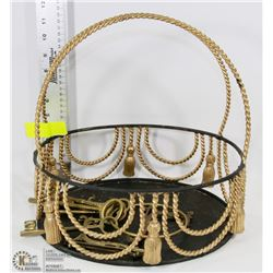 DECORATIVE BASKET WITH BRASS KEY SET & PAIR OF