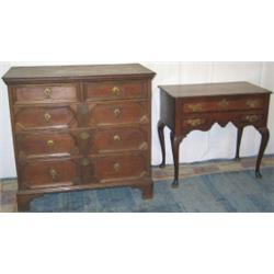 George III oak & mahogany crossbanded lowboy with shaped apron