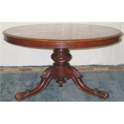 Victorian mahogany circular tilt-top dining table with turned & carved column