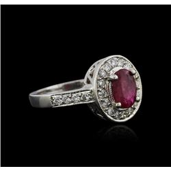14KT White Gold 0.89 ctw Ruby and Diamond Ring