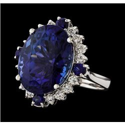 17.13 ctw Tanzanite, Sapphire and Diamond Ring - 14KT White Gold