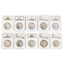 Lot of (10) Assorted $1 Morgan Silver Dollar Coins NGC MS63