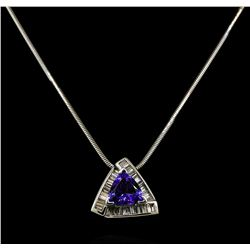 2.46 ctw Tanzanite and Diamond Pendant With Chain - 14KT White Gold