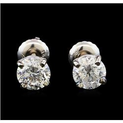 1.42 ctw Diamond Stud Earrings - 14KT White Gold