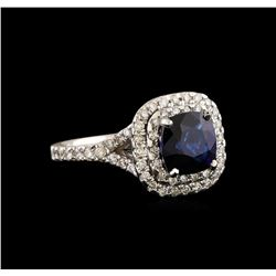 14KT White Gold 2.59 ctw Sapphire and Diamond Ring