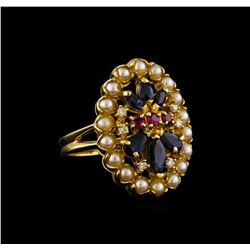 0.95 ctw Sapphire, Ruby, Pearl and Diamond Ring - 18KT Yellow Gold