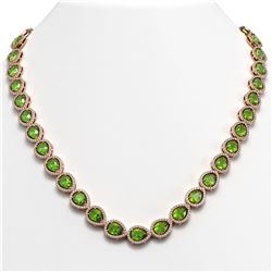 33.35 CTW Peridot & Diamond Halo Necklace 10K Rose Gold - REF-664H2A - 41070