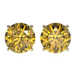 3 CTW Certified Intense Yellow SI Diamond Solitaire Stud Earrings 10K Yellow Gold - REF-555K2W - 331