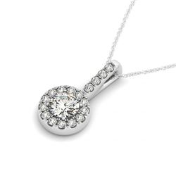 0.85 CTW Certified VS/SI Diamond Solitaire Halo Necklace 14K White Gold - REF-99N3Y - 30028