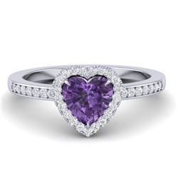 1 CTW Amethyst & Micro Pave Ring Heart Halo 14K White Gold - REF-33F6N - 21400
