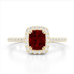 1.25 CTW Garnet & Micro Pave VS/SI Diamond Halo Ring 10K Yellow Gold - REF-33W3F - 22905