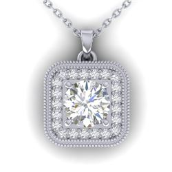 1.32 CTW Certified VS/SI Diamond Art Deco Micro Halo Necklace 14K White Gold - REF-193W3F - 30501