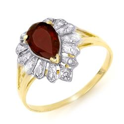 1.11 CTW Garnet & Diamond Ring 10K Yellow Gold - REF-11K8W - 13607