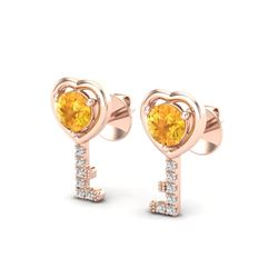 0.60 CTW Citrine & VS/SI Diamond Micro Pave Key Of Heart Earrings 14K Rose Gold - REF-20W8F - 22667