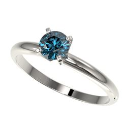 0.50 CTW Certified Intense Blue SI Diamond Solitaire Engagement Ring 10K White Gold - REF-58X2T - 32