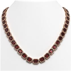 60.59 CTW Garnet & Diamond Halo Necklace 10K Rose Gold - REF-676A5X - 41376