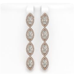 6.08 CTW Marquise Diamond Designer Earrings 18K Rose Gold - REF-1136H2A - 42747