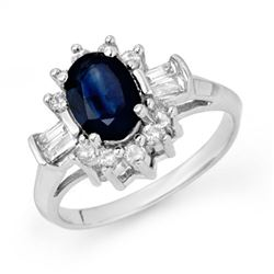 2.33 CTW Blue Sapphire & Diamond Ring 18K White Gold - REF-70F9N - 13159