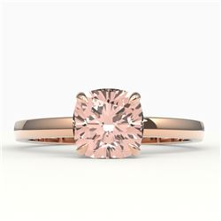 1.50 CTW Cushion Cut Morganite Solitaire Engagement Ring 14K Rose Gold - REF-33X3T - 22151