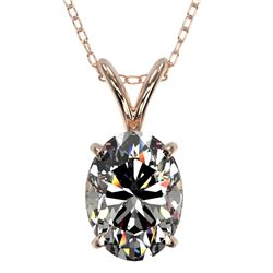 1.25 CTW Certified VS/SI Quality Oval Diamond Solitaire Necklace 10K Rose Gold - REF-423M3H - 33212