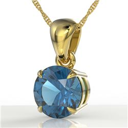 2 CTW London Blue Topaz Designer Inspired Solitaire Necklace 18K Yellow Gold - REF-24K9W - 22030