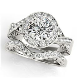 1.89 CTW Certified VS/SI Diamond 2Pc Wedding Set Solitaire Halo 14K White Gold - REF-588N2Y - 31307