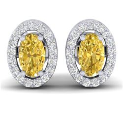 0.75 CTW Citrine & Micro Pave VS/SI Diamond Earrings Halo 18K White Gold - REF-34A5X - 21183