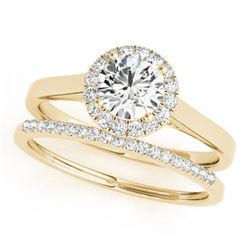 0.89 CTW Certified VS/SI Diamond 2Pc Wedding Set Solitaire Halo 14K Yellow Gold - REF-135W6F - 30986