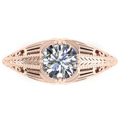 1 CTW Solitaire Certified VS/SI Diamond Ring 14K Rose Gold - REF-279N2Y - 38533