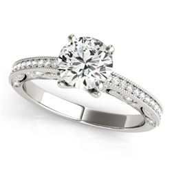 0.75 CTW Certified VS/SI Diamond Solitaire Antique Ring 18K White Gold - REF-129F8N - 27372
