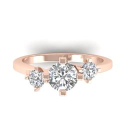 1.25 CTW Certified VS/SI Diamond Solitaire 3 Stone Ring 14K Rose Gold - REF-201K3W - 30406