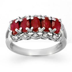 2.0 CTW Ruby & Diamond Ring 10K White Gold - REF-28M5H - 12432
