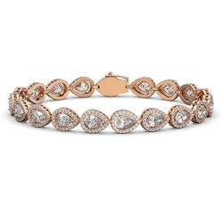 14.28 CTW Pear Diamond Designer Bracelet 18K Rose Gold - REF-2650M4H - 42735