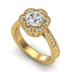 1.33 CTW VS/SI Diamond Solitaire Art Deco Ring 18K Yellow Gold - REF-418F2N - 37105