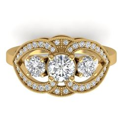 1.5 CTW Certified VS/SI Diamond Art Deco 3 Stone Ring 14K Yellow Gold - REF-169H3A - 30521